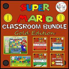 Mario Classroom Bundle Gold Edition Calendar, Name Plates, Classroom Decor Themes, Classroom Displays, Classroom Organization, Classroom Ideas, Super Mario Coloring Pages, Mario Crafts, Mario And Luigi, Mario Bros, School Themes
