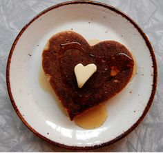 cute heart pancake and butter