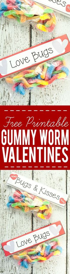 Free Printable Gummy Worm Valentines for kids - Fr. Free Printable Gummy Worm Valentines for kids – Free Gummy Worm Valentine Printables that are easy to put together and perfect for kids to hand out at their school Valentine& Day party. Funny Valentine, Kinder Valentines, Valentines Day Treats, Valentine Day Crafts, Printable Valentine, Valentine Party, Printable Party, Valentine Ideas, Valentinstag Party