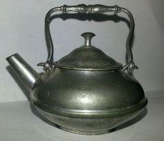 Vintage Dollhouse Miniature Tea Kettle Metal pewter  Detailed design  1800's