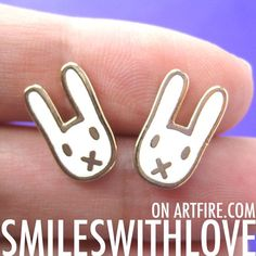 SALE Bunny Rabbit Miffy Animal Stud Earrings in White on Gold $5 #bunnies #jewelry #cute #earrings