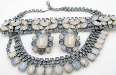 Gorgeous Blue Opalescent Rhinestone Parure Rhodium Plated Set