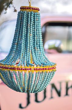 The wanderlust WOODEN BEADED CHANDELIER // turquoise chandelier // boho glamping inspiration. // Junk GYpSy co.
