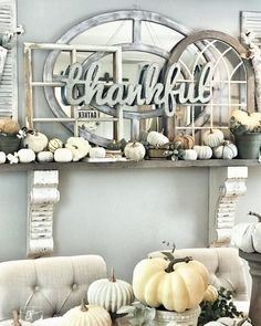 Fall Farmhouse Decor – Fancy Fix Decor The Perfect Fall and Thanksgiving Mantle. Pumpkins and window decor with mirror and corbels Wood Mantle Fireplace, Modern Fireplace, Thanksgiving Mantle, Fall Mantle Decor, Victorian Rooms, Brick And Wood, Decorating Your Home, Mantle Decorating, Decorating Ideas