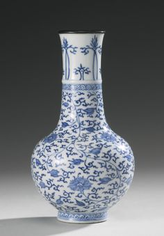 RP:  PENCILED BLUE AND WHITE 'LOTUS' SMALL VASE QING DYNASTY, KANGXI PERIOD