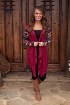 The Pink Lily Boutique - In The Mix Burgundy Cardigan, $38.00 (http://www.thepinklilyboutique.com/in-the-mix-burgundy-cardigan/)