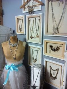 Display necklaces in frames (no glass) - show off the most unusual or favorite pieces