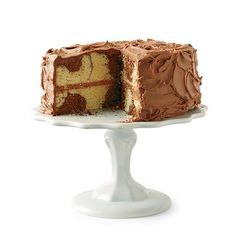 Marble Cake with Chocolate Frosting | This layer cake recipe combines moist, spongy cake and frosting that's a perfect balance between sweet and buttery.
