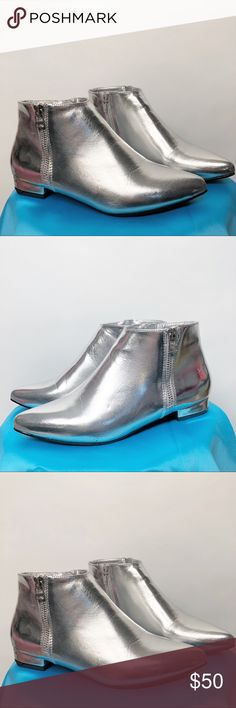 """Silver Ankle Boot ASOS 6 side zipper 👽👽👽 Cutie space babe ankle booties!  Silver point toe flat boots with 3/4"""" heel. Outside accessory zipper and inside workin zipper. From ASOS. New never worn. By London Rebel. Size UK 4 which is US 6. Super cute with bright colored opaque tights and a skirt! 🚀 tags space babe rock n roll punk out of this world London Rebel Shoes Ankle Boots & Booties"""