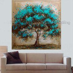 Pas cher Peinture à l'huile faite à la main sur toile arbre fleur rouge peinture…