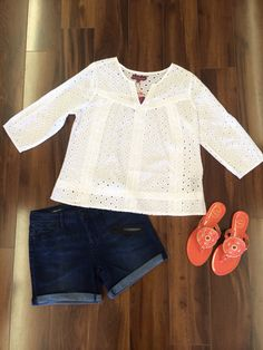 If this outfit doesn't scream summer, we don't know what does?! Eyelet tunic ($52), Liverpool Jean shorts ($49), Jack Roger Georgica Jelly Sandals ($49). Come see us or call to order over the phone (803)713-7866. #shoplocal #shopsummer