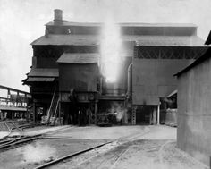 Bessemer converter at Ohio Works, Youngstown, Ohio, Carnegie Illinois Steel Corp (circa post-1936)