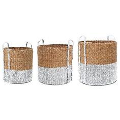 HK-living Wasmanden rotan set van drie bruin/wit Ø 30,46 en 57cm