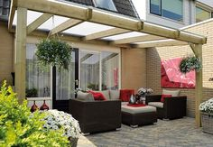 Pergola with solid roof Backyard Plan, Backyard Patio, Pergola With Roof, Pergola Plans, Garden Structures, Outdoor Structures, Outdoor Awnings, Outside Room, Outdoor Living Rooms