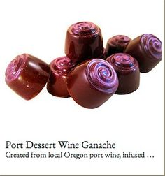TAMAMI CHOCOLATES, hand-crafted in McMinnville, Oregon. Pictured: Port Dessert Wine Ganache Truffles infused with a local Oregon Port.  Other flavors include Cinnamon Marzipan, Chewy Caramel Crunch, Kona Coffee Ganache, and Mt. Hood (with rum!)-- Would make a very Oregon wedding favor or gift for out of town guests (C / O / USA)