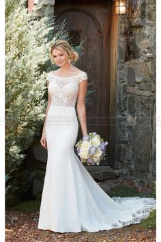 Essense of Australia Off The Shoulder Wedding Dress With Lace Train Style D2298 - Hot Brands