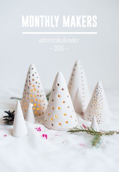 clay christmas tree candle votives. These are so very darling!