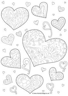 Doodle Hearts Colouring Page
