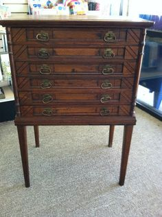 Clark's 6 drawer spool cabinet with embossed bird and leaf motif ...