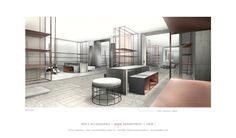 Interior Rendering, Interior Sketch, Interior Architecture, Interior Design, Yabu Pushelberg, Wood Images, Coreldraw, Retail Design, Restaurant Bar