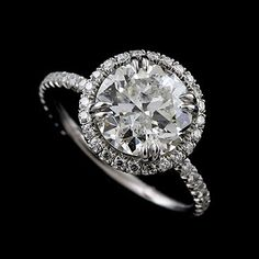 3CT Forever Brilliant Moissanite Cut Down Micropave Diamond Solid 14k White Gold Halo Modern Engagement Ring on Etsy, $2,499.00