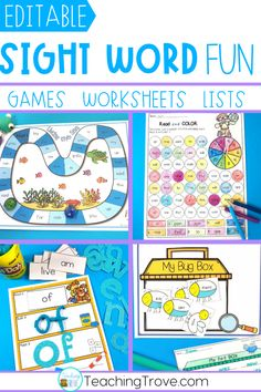 Sight word activities that are editable are perfect for creating fun centers or stations for your kindergarten or first grade students. With 38 different themes in this pack, you will have a wide range of sight word, phonics, spelling or word work games, worksheets and playdough mats you can create in seconds! Use the included assessment sheets to monitor the progress of your students. Easily create a differentiated program in your classroom.