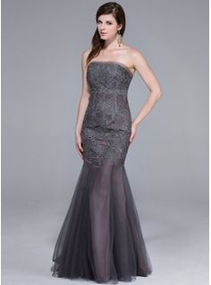 Special Occasion Dresses - $190.99 - Mermaid Strapless Floor-Length Tulle Evening Dress With Lace  http://www.dressfirst.com/Mermaid-Strapless-Floor-Length-Tulle-Evening-Dress-With-Lace-017025465-g25465