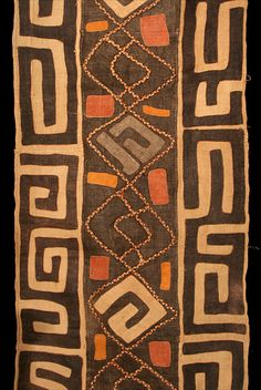 A traditional Kuba appliqué raffia cloth, from the D.R. Congo