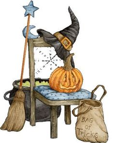 Halloween image painted by Diane Knott. his would make a cute cross stitch project. Retro Halloween, Photo Halloween, Theme Halloween, Halloween Clipart, Halloween Painting, Halloween Drawings, Halloween Images, Holidays Halloween, Halloween Crafts