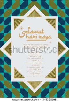 hari raya emblem vector/ illustration with malay words that translates to Wishing you a joyous Hari Raya/ Islamic Pattern for Muslim Celebration Template