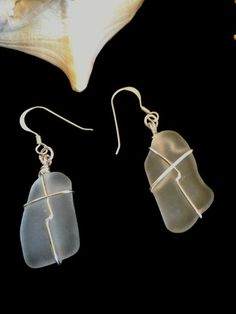 Frosted white sea glass earrings, with sterling silver hooks - handmade, recycled, eco-friendly #etsy #silverjewelry