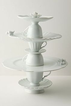 Tea Service cookie stand - elegantly made from stacked porcelain cups and plates.