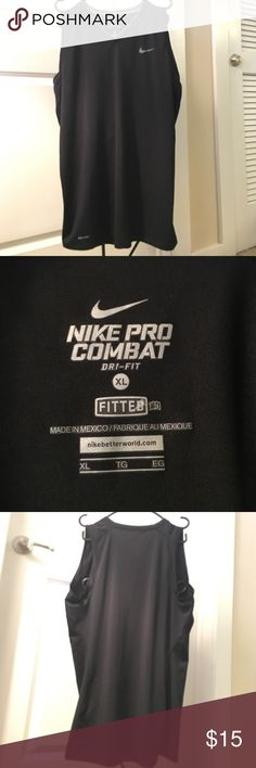 "Nike pro combat black tank XL Nike pro combat black fitted tank. Size XL. Good condition! 29"" length Nike Shirts"