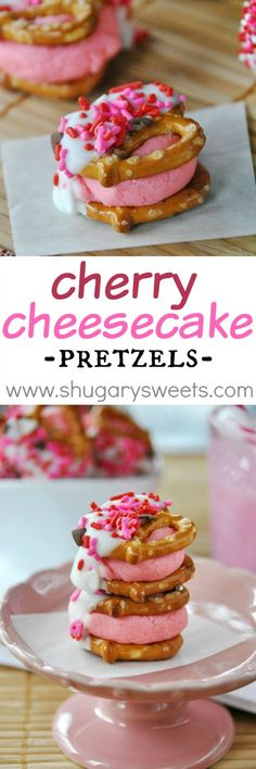 The perfect recipe for Valentine's Day or a girls birthday party! Best Dessert Recipes, Candy Recipes, Cheesecake Recipes, Fun Desserts, Sweet Recipes, Pretzel Recipes, Finger Desserts, Pretzel Snacks, Dipped Pretzels