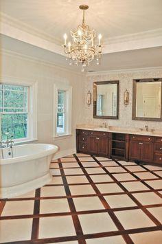 Gorgeous master bath: love chandy, floor, backsplash, vanity