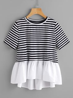 Dotfashion Contrast Frill Trim Striped Tee Summer Round Neck Casual T-shirt Ladies Color Block With Ruffle Cute T-shirt Casual T Shirts, Casual Outfits, Cute Outfits, Modest Fashion, Fashion Outfits, Womens Fashion, Trendy Fashion, Mode Top, Vetement Fashion