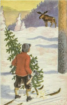 Julekort Spange. Gutt m/juletre møter elg. Utg Litogr. forl