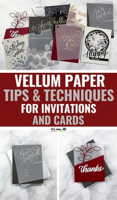 Vellum Paper Tips and Techniques For Cards And Invitations, #weddinginvitation #weddinginvitations #vellumcards #vellumoverlay #weddingstationery Card Making Tips, Card Making Tutorials, Card Making Techniques, Making Ideas, Papel Vellum, Vellum Papier, Vellum Crafts, Making Greeting Cards, Greeting Cards Handmade
