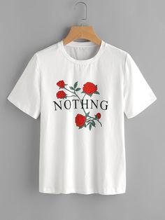 Camiseta de mangas cortas con estampado de rosa