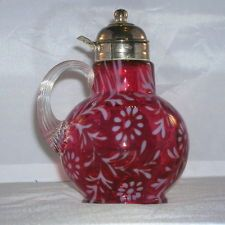 Vintage Fenton L.G.Wright Cranberry Opal Glass Daisy Fern Pattern Syrup Pitcher