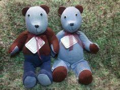 Memory Bears made from loved ones clothing.  Creativecraftsbydawn.webs.com  Fallow me on Facebook: Creative Crafts by Dawn