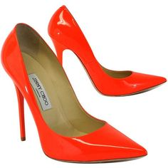 Pre-owned Jimmy Choo Neon Orange Patent Leather Pumps ($229) ❤ liked on Polyvore featuring shoes, pumps, heels, high heeled footwear, patent pumps, orange shoes, pointed toe pumps and jimmy choo pumps