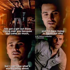 The vampire diaries. i actually really liked that scene because enzo was so sweet to caroline Vampire Diaries Stefan, Vampire Diaries Quotes, Vampire Diaries Cast, Vampire Diaries The Originals, Paul Wesley, Stefan Salvatore, Series Movies, Movies And Tv Shows, Bonnie And Enzo