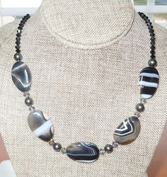 Chunky Black Agate Gemstone Beaded Necklace with by BestBuyDesigns