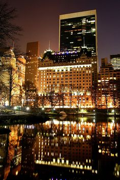 The Plaza Hotel view from Central Park, New York City, New York.
