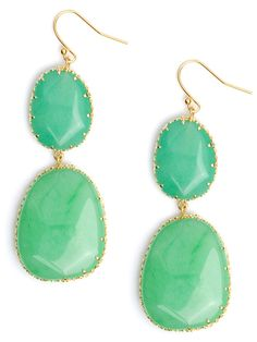 Our best-selling aqua boho drops is redone in a punched up summer bright spearmint hue.  Bring the beach to you with this lush Caribbean-inspired shade.  See team BaubleBar sytle this.  BB Note:  These earrings are on the heavier side - each one is approximately the same weight as two quarters