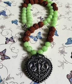 Funky Green quartzite with big silver pendent necklace ! by Theshobs on Etsy