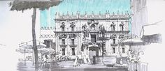 https://flic.kr/p/6PzY7K | Plaza del Obispo, Málaga | Urbansketching is not an easy task in Southern Spain during the summer. Apart from the high temperature, public space is packed with umbrellas, awnings and other similar stuff, ruining the best panoramas. This time I managed to find a place to sketch the baroque façade of the bishop palace, a building complex with other older parts, one of which I had previously drawn a week ago. Staedtler liner and brush pen on moleskine sketchbook.
