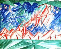 Михаил Ларионов Голубой лучизм Michel Larionov Blue Rayonism Rayonism,  Russian avant-garde art, abstract art in Russia, лучизм, русский авангард, искусство 20 века, абстрактное искусство