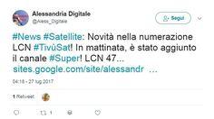 #News #Satellite - Novità nella numerazione LCN #TivùSat  In mattinata è stato aggiunto il canale #Super! LCN 47... #tivusat